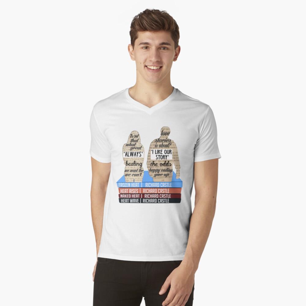caskett T-Shirt mit V-Ausschnitt