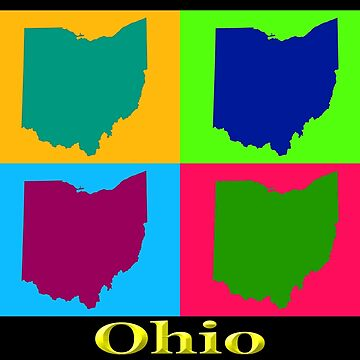 Colorful Ohio State Pop Art Map by KWJphotoart