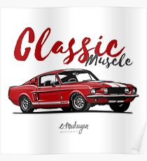 Classic Muscle. 1967 Mustang Shelby GT500 (red) Poster