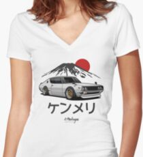Skyline GTR Kenmeri (white) Women's Fitted V-Neck T-Shirt