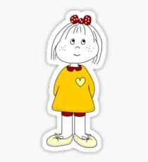 Cute Little Girl Whit Yellow Dress, Red Hair Ribbon And a Big Heart Sticker