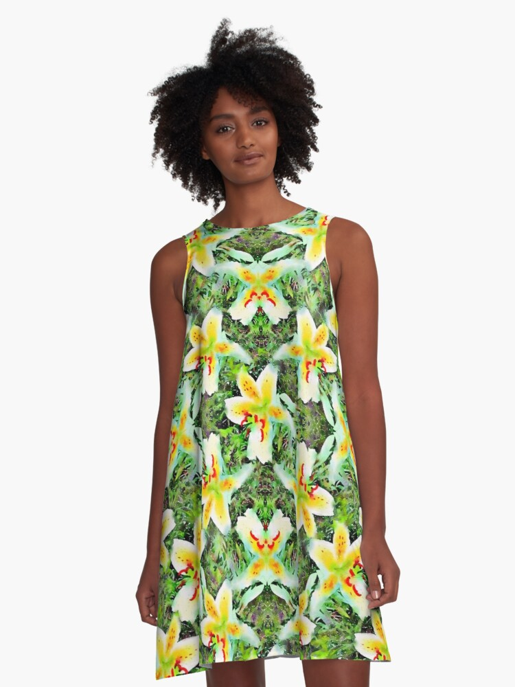 Watercolor White Lilies Green Leaves Aloha Botanical A-Line Dress Front