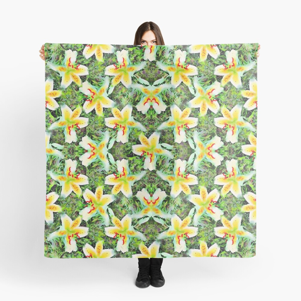 Watercolor White Lilies Green Leaves Aloha Botanical Scarf Front