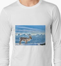Reindeer in snow covered landscape at sea Long Sleeve T-Shirt