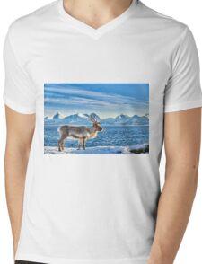 Reindeer in snow covered landscape at sea Mens V-Neck T-Shirt