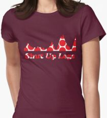 Shut Up Legs Red Polka Dot Mountain Profile Womens Fitted T-Shirt