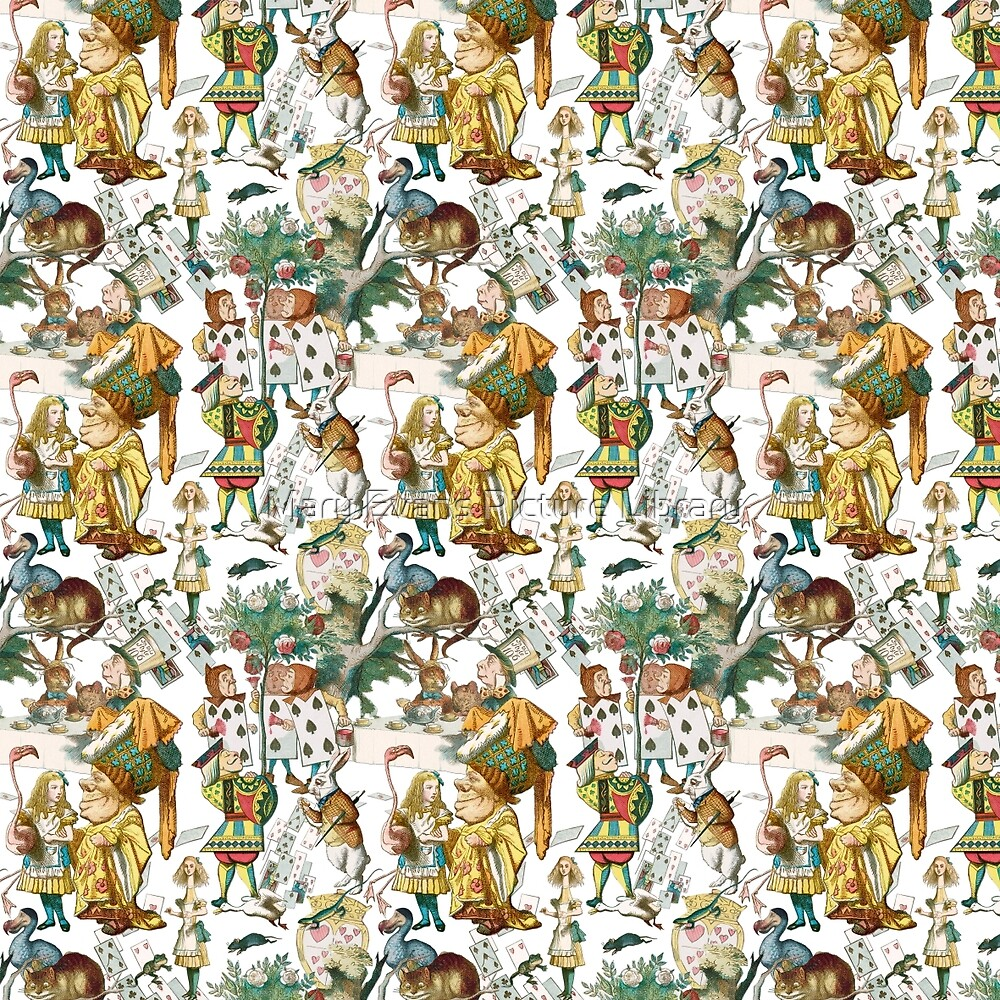 Vintage Alice in Wonderland Repeating Pattern by Mary Evans Picture Library