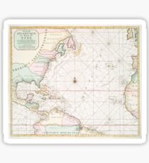 Vintage Atlantic Ocean & North America Map (1700s) Sticker