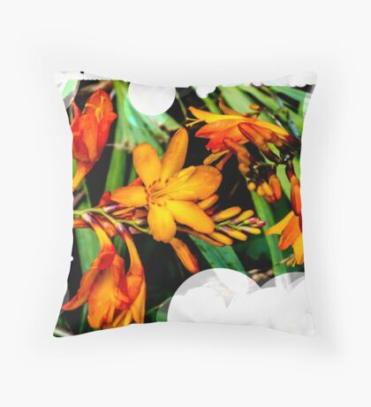 Orange flowers by the canal  Throw Pillow