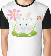 Little Blue Baby Bunny With Flowers Graphic T-Shirt