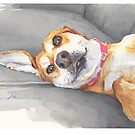 lounging dog watercolor by Mike Theuer