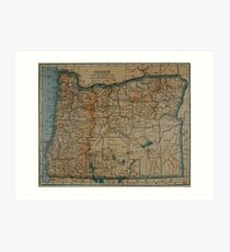 Vintage Map of Oregon (1921) Art Print