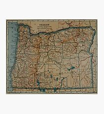 Vintage Map of Oregon (1921) Photographic Print