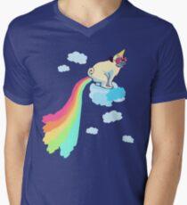 rainbow pug #2 Men's V-Neck T-Shirt