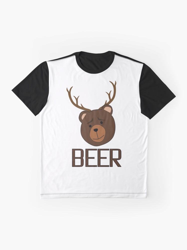 1c94fc7b6 Alternate view of Bear Deer Beer Animals Funny T shirt Grizzly Bear Cool  Drinking Drunk Joke