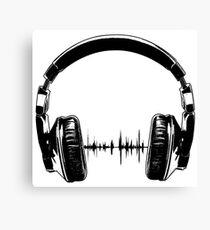 Headphones - Black Canvas Print
