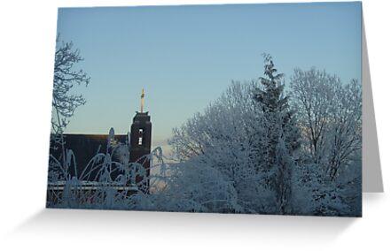 Winter scene with church by Caroline Clarkson