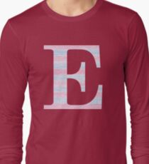 Letter E Blue And Pink Dots And Dashes Monogram Initial T-Shirt