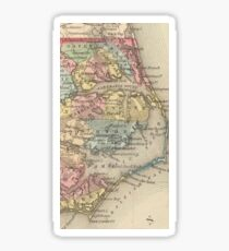 Vintage Map of The Outer Banks (1859) Sticker