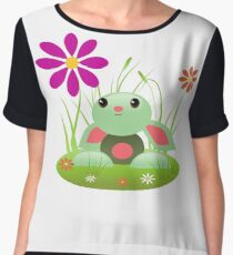 Little Green Baby Bunny With Flowers Women's Chiffon Top