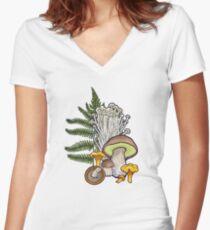 mushroom forest Women's Fitted V-Neck T-Shirt