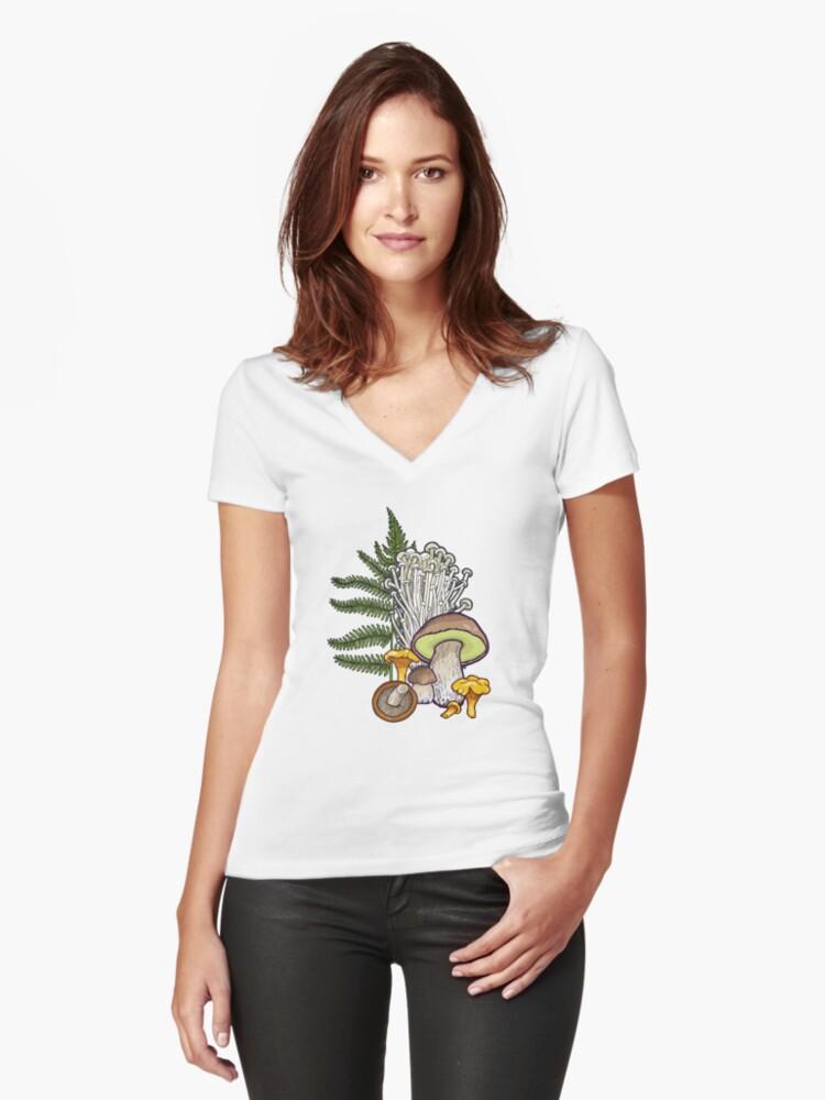 mushroom forest Women's Fitted V-Neck T-Shirt Front