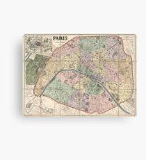 Vinage Map of Paris France (1878) Canvas Print