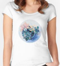 Pastel Succulents - an oil painting on canvas Women's Fitted Scoop T-Shirt