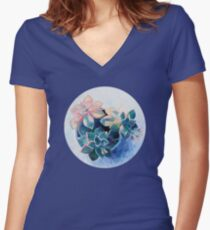 Pastel Succulents - an oil painting on canvas Women's Fitted V-Neck T-Shirt