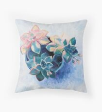 Pastel Succulents - an oil painting on canvas Throw Pillow