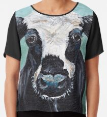 "Cow art, cow print ""Maybelline"" Chiffon Top"