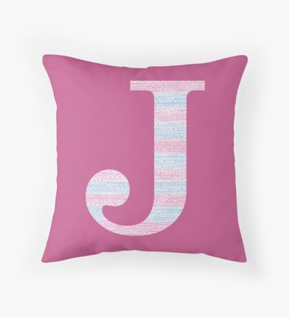 Letter J Blue And Pink Dots And Dashes Monogram Initial Throw Pillow