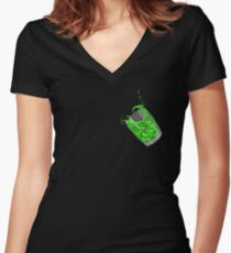 Vague dans un verre (vert) - peu T-shirt col V femme