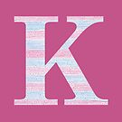 Letter K Blue And Pink Dots And Dashes Monogram Initial by theartofvikki