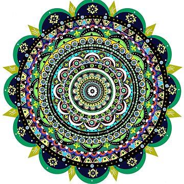 Green Flower Mandala by Alabaster-Ink