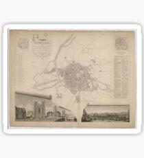 Vintage Map of Rennes France (1829) Sticker