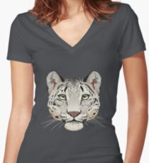 Snow Leopard Face Women's Fitted V-Neck T-Shirt