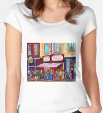 SCHWARTZ'S DELI SMOKED MEAT SANDWICHES MONTREAL Women's Fitted Scoop T-Shirt