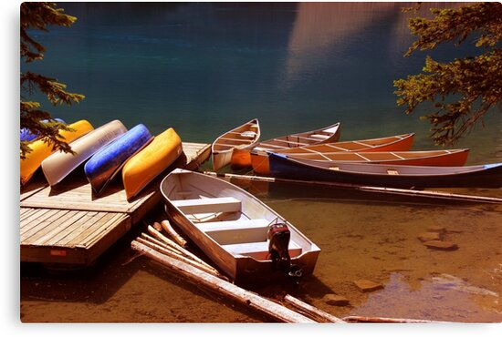 Canoes Docked At Moraine Lake by Vickie Emms