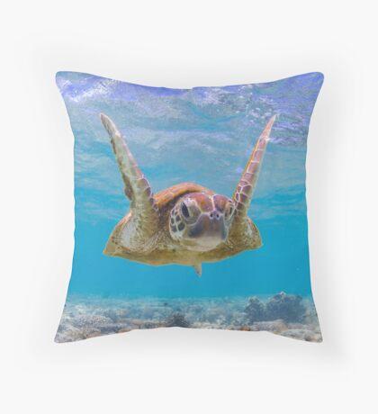 Joyful turtle - print Throw Pillow