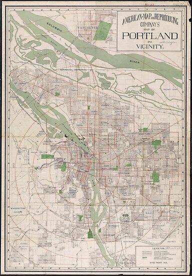 Vintage Oregon Map.Vintage Map Of Portland Oregon 1912 Posters By Bravuramedia