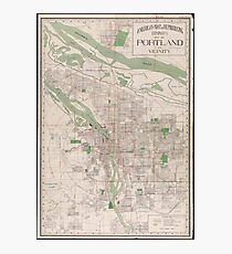 Vintage Map of Portland Oregon (1912) Photographic Print
