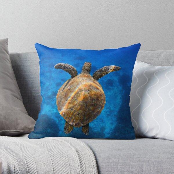 Cruising turtle - print Throw Pillow