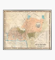 Vintage Map of Providence Rhode Island (1851) Photographic Print
