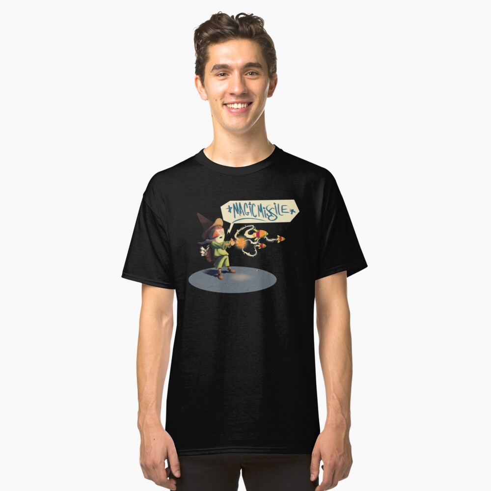 """The wizard casts """"Magic Missile"""" Classic T-Shirt Front"""
