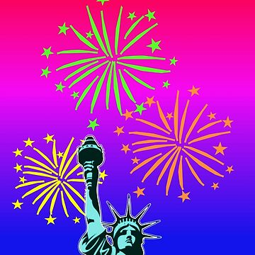 Statue Of Liberty Fireworks by aurora-belle