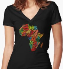 Africa Word Pattern Africa Map T-Shirt Women's Fitted V-Neck T-Shirt
