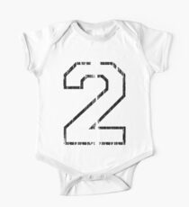 White Distressed Sports Number 2 One Piece - Short Sleeve