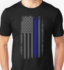 Vertical Thin Blue Line American Flag T-Shirt
