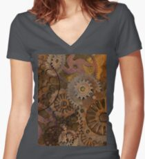 Changing Gear - Steampunk Gears & Cogs Women's Fitted V-Neck T-Shirt